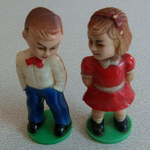 Vintage Kissing dolls magnetic plastic toys Hong Kong @sold@
